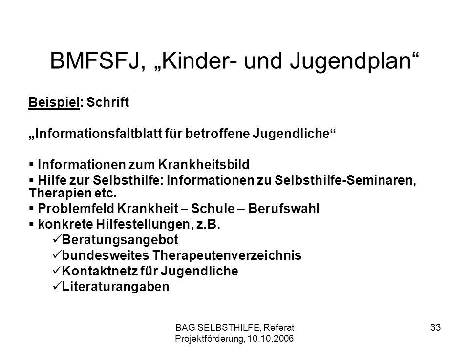 BAG SELBSTHILFE, Referat Projektförderung, 10.10.2006 33 BMFSFJ, Kinder- und Jugendplan Beispiel: Schrift Informationsfaltblatt für betroffene Jugendl
