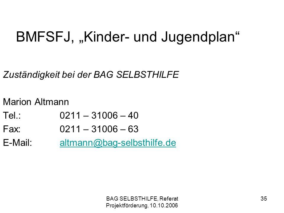 BAG SELBSTHILFE, Referat Projektförderung, 10.10.2006 35 BMFSFJ, Kinder- und Jugendplan Zuständigkeit bei der BAG SELBSTHILFE Marion Altmann Tel.:0211
