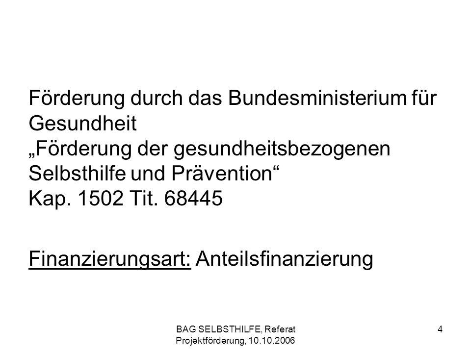 BAG SELBSTHILFE, Referat Projektförderung, 10.10.2006 35 BMFSFJ, Kinder- und Jugendplan Zuständigkeit bei der BAG SELBSTHILFE Marion Altmann Tel.:0211 – 31006 – 40 Fax:0211 – 31006 – 63 E-Mail:altmann@bag-selbsthilfe.dealtmann@bag-selbsthilfe.de
