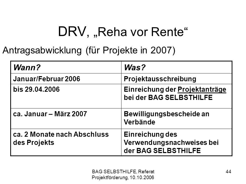 BAG SELBSTHILFE, Referat Projektförderung, 10.10.2006 44 DRV, Reha vor Rente Antragsabwicklung (für Projekte in 2007) Wann?Was? Januar/Februar 2006Pro