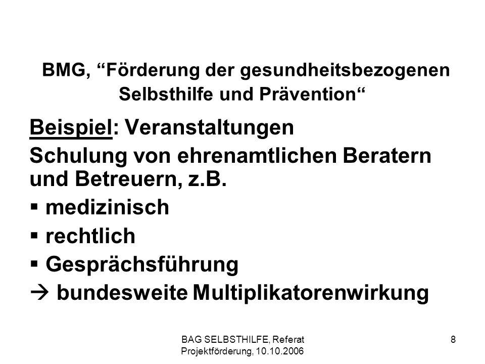 BAG SELBSTHILFE, Referat Projektförderung, 10.10.2006 8 BMG, Förderung der gesundheitsbezogenen Selbsthilfe und Prävention Beispiel: Veranstaltungen S