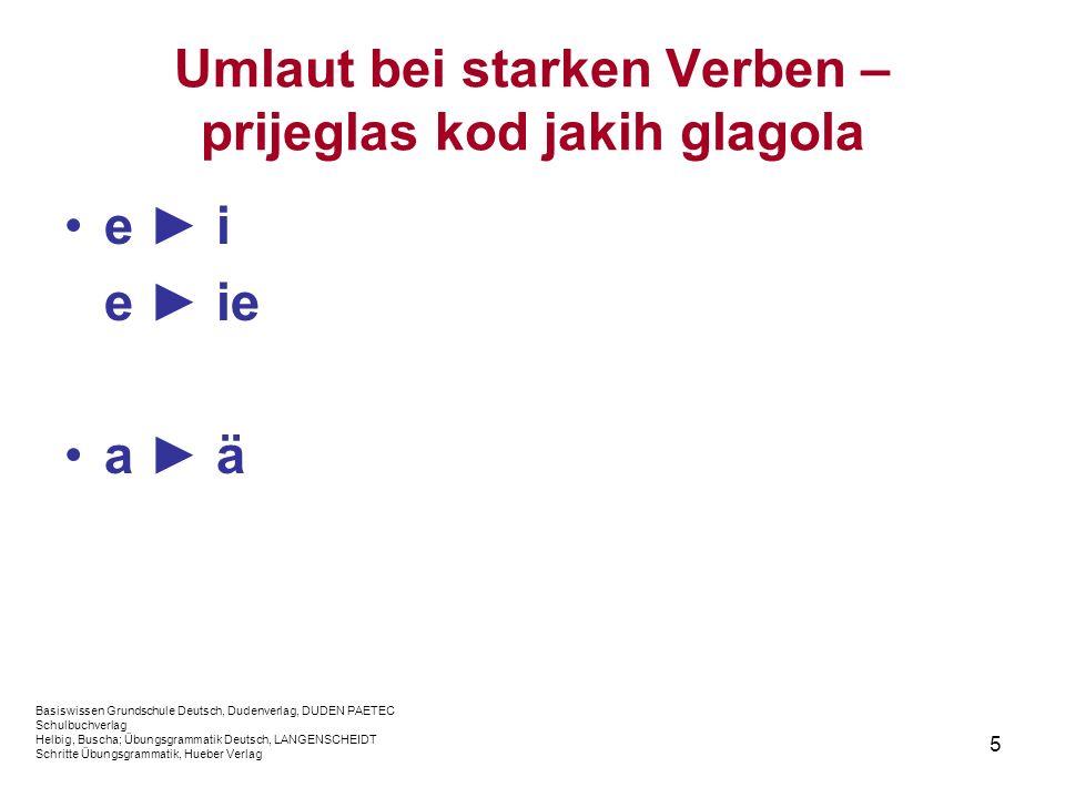 5 Umlaut bei starken Verben – prijeglas kod jakih glagola e i e ie a ä Basiswissen Grundschule Deutsch, Dudenverlag, DUDEN PAETEC Schulbuchverlag Helb