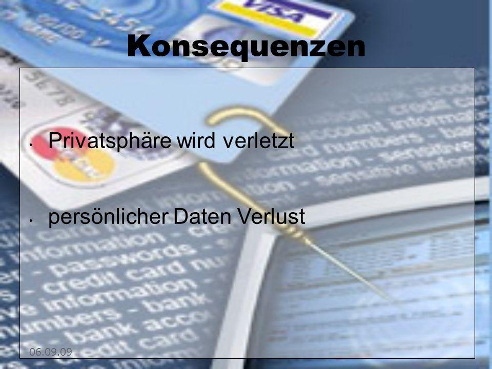 06.09.09 Konsequenzen Privatsphäre wird verletzt persönlicher Daten Verlust