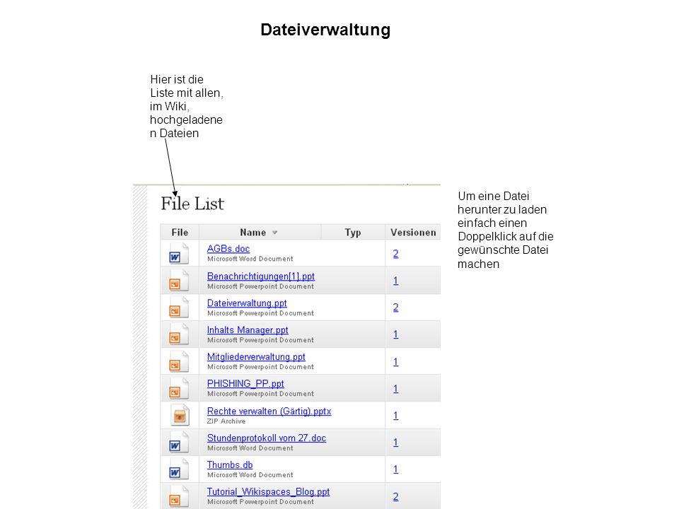 Dateiverwaltung Hier ist die Liste mit allen, im Wiki, hochgeladene n Dateien Um eine Datei herunter zu laden einfach einen Doppelklick auf die gewünschte Datei machen
