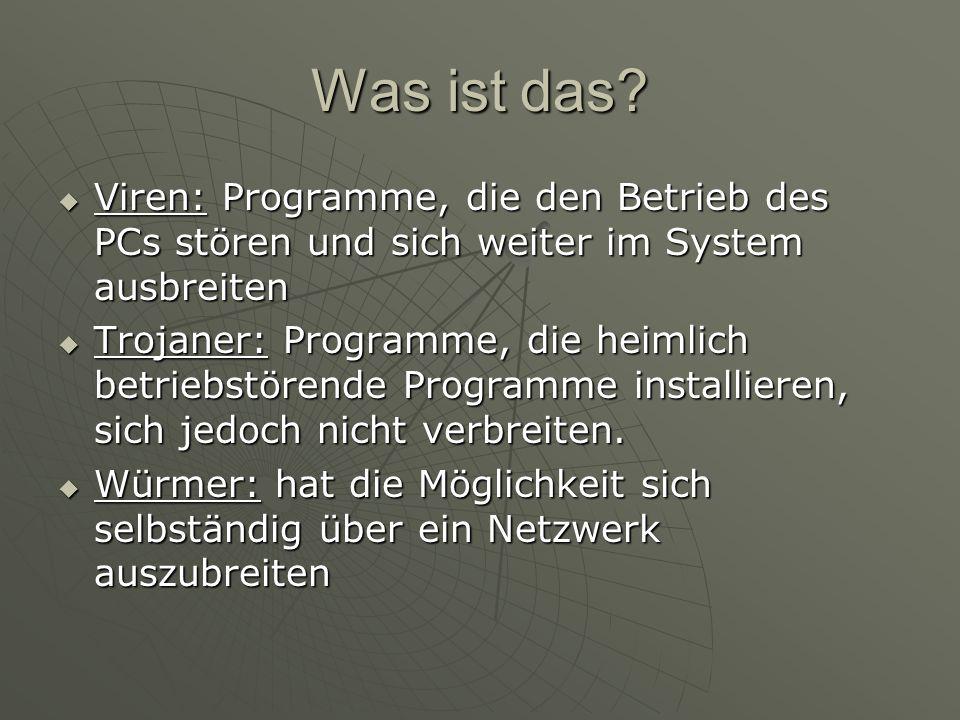 Was ist das? Viren: Programme, die den Betrieb des PCs stören und sich weiter im System ausbreiten Viren: Programme, die den Betrieb des PCs stören un
