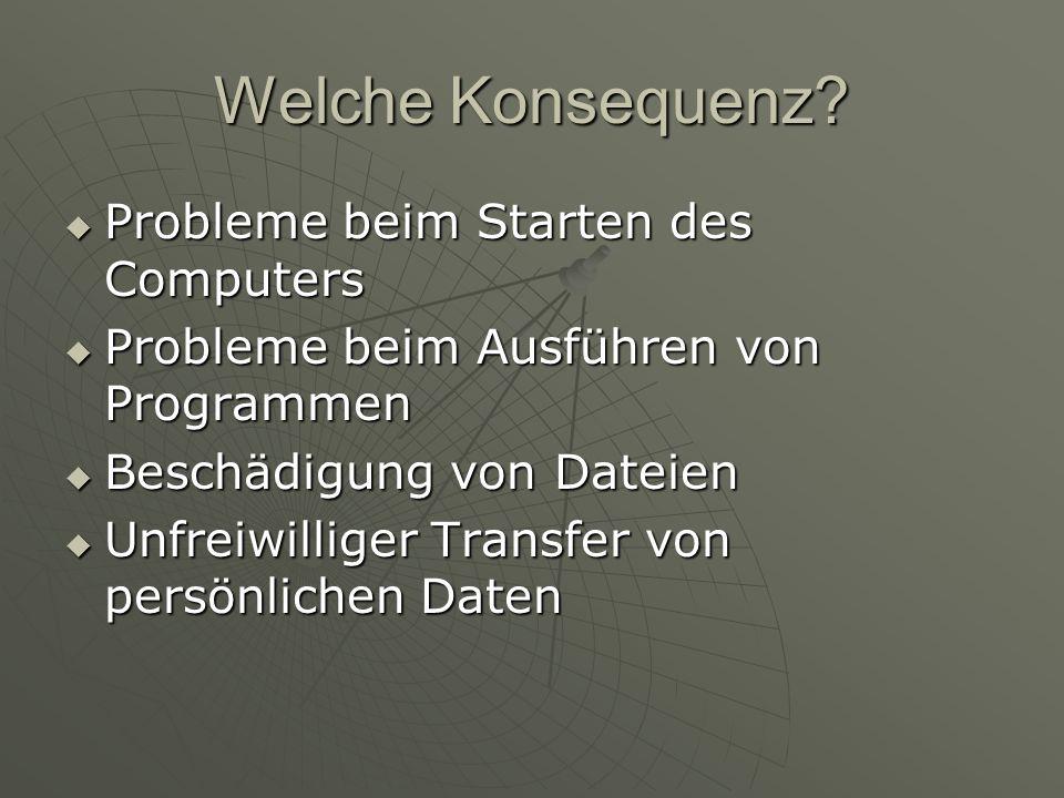 Welche Konsequenz? Probleme beim Starten des Computers Probleme beim Starten des Computers Probleme beim Ausführen von Programmen Probleme beim Ausfüh