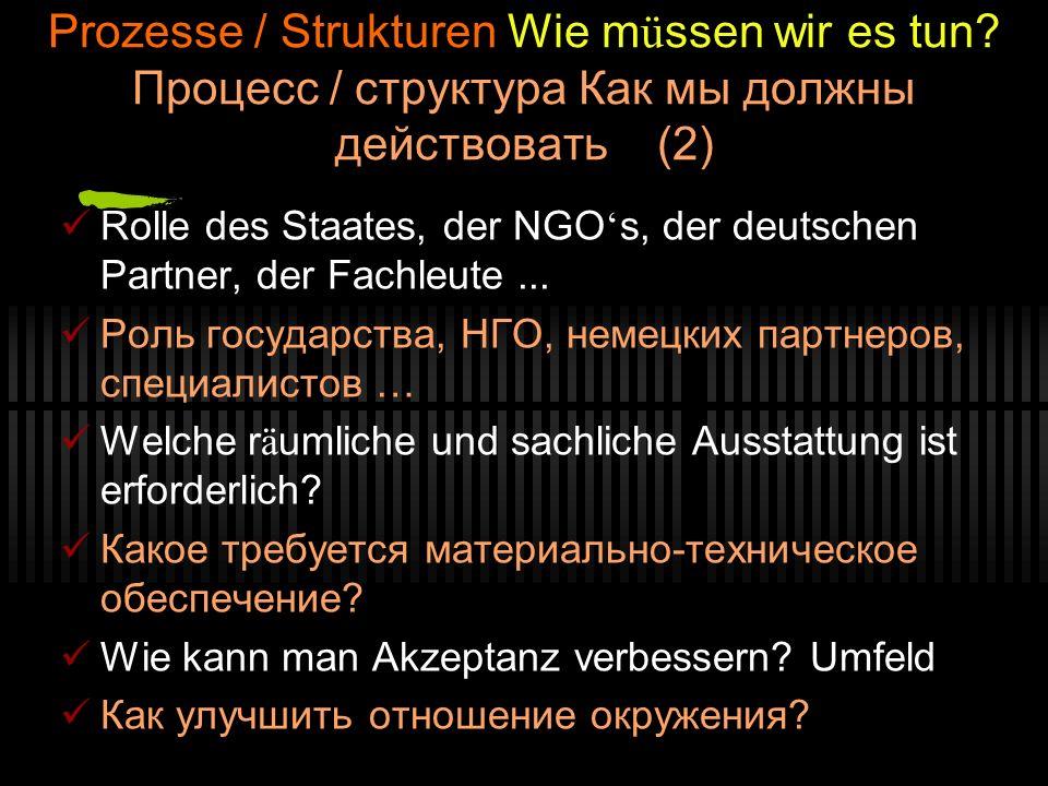 Prozesse / Strukturen Wie m ü ssen wir es tun? Процесс / структура Как мы должны действовать (2) Rolle des Staates, der NGO s, der deutschen Partner,