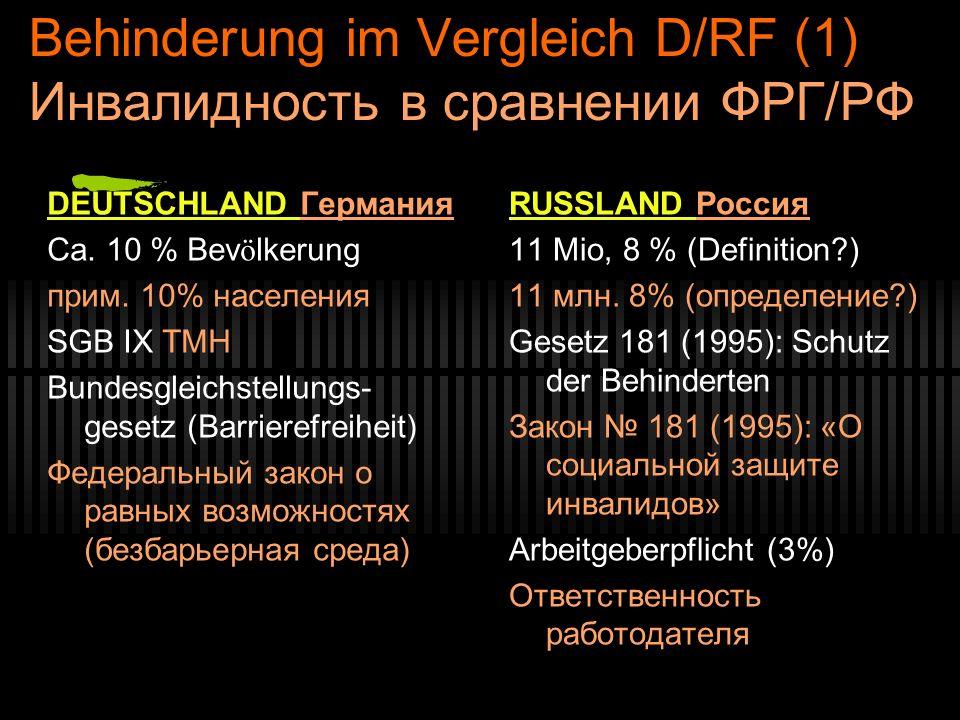 Behinderung im Vergleich D/RF (1) Инвалидность в сравнении ФРГ/РФ DEUTSCHLAND Германия Ca. 10 % Bev ö lkerung прим. 10% населения SGB IX ТМН Bundesgle