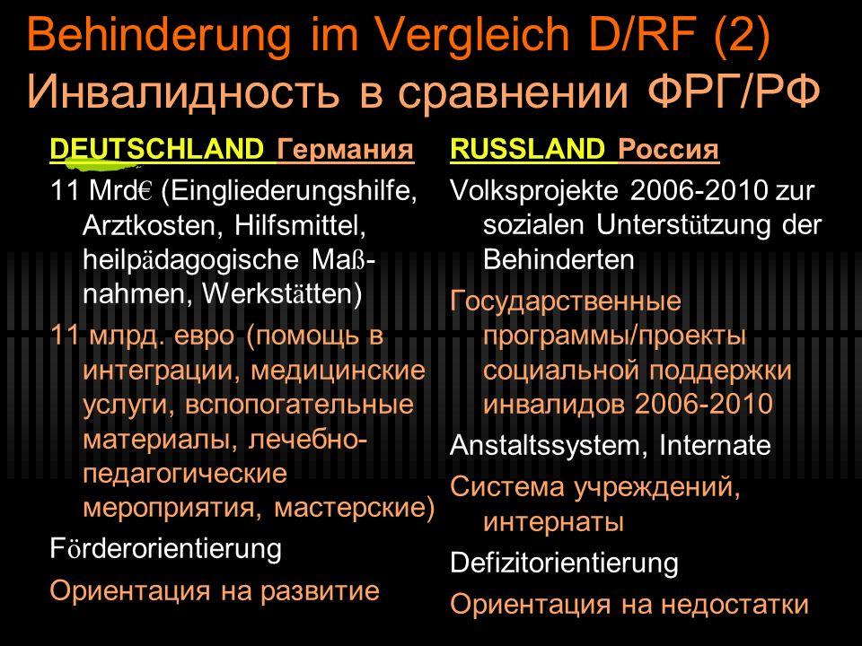 Behinderung im Vergleich D/RF (2) Инвалидность в сравнении ФРГ/РФ DEUTSCHLAND Германия 11 Mrd (Eingliederungshilfe, Arztkosten, Hilfsmittel, heilp ä dagogische Ma ß - nahmen, Werkst ä tten) 11 млрд.