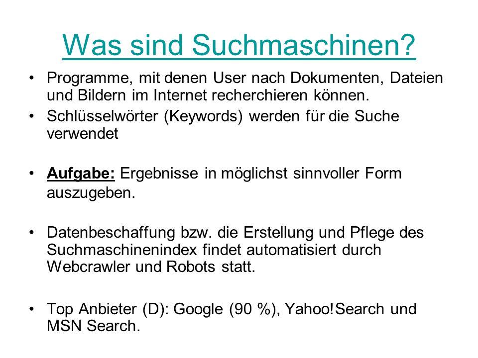 Was sind Suchmaschinen.