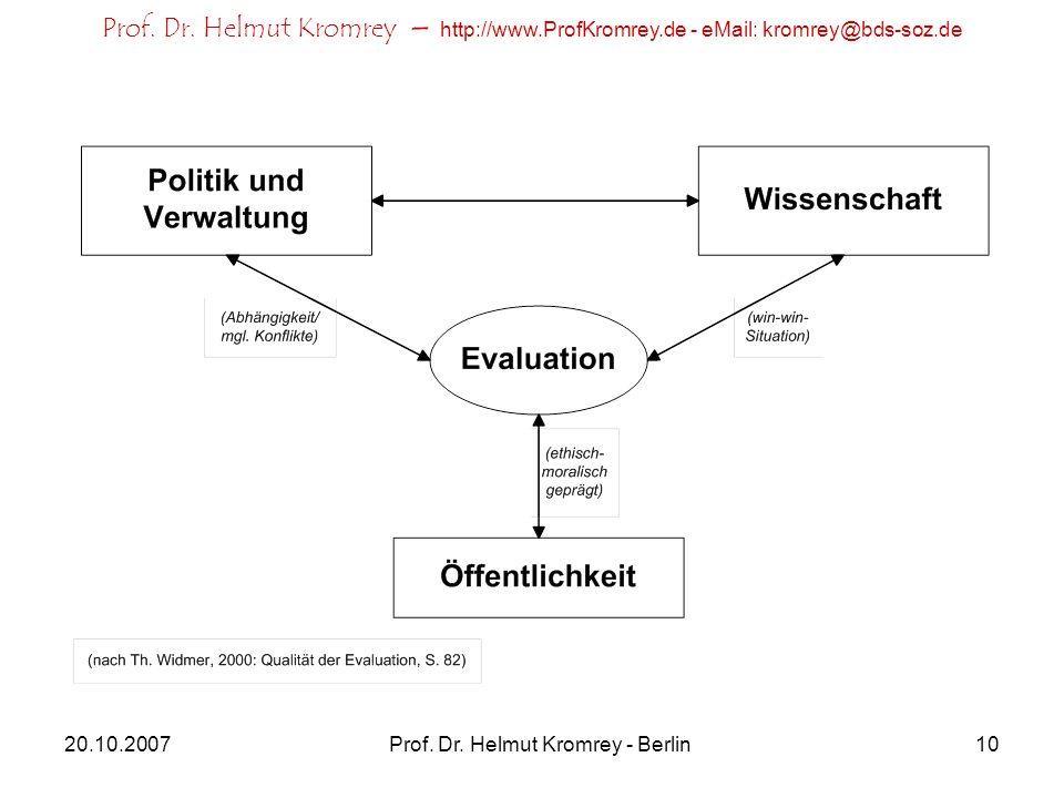 Prof. Dr. Helmut Kromrey – http://www.ProfKromrey.de - eMail: kromrey@bds-soz.de 20.10.2007Prof. Dr. Helmut Kromrey - Berlin10