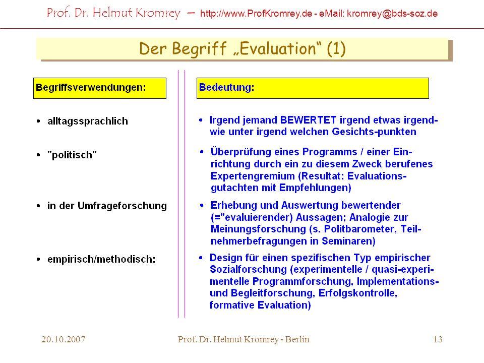 Prof. Dr. Helmut Kromrey – http://www.ProfKromrey.de - eMail: kromrey@bds-soz.de 20.10.2007Prof. Dr. Helmut Kromrey - Berlin13 Der Begriff Evaluation