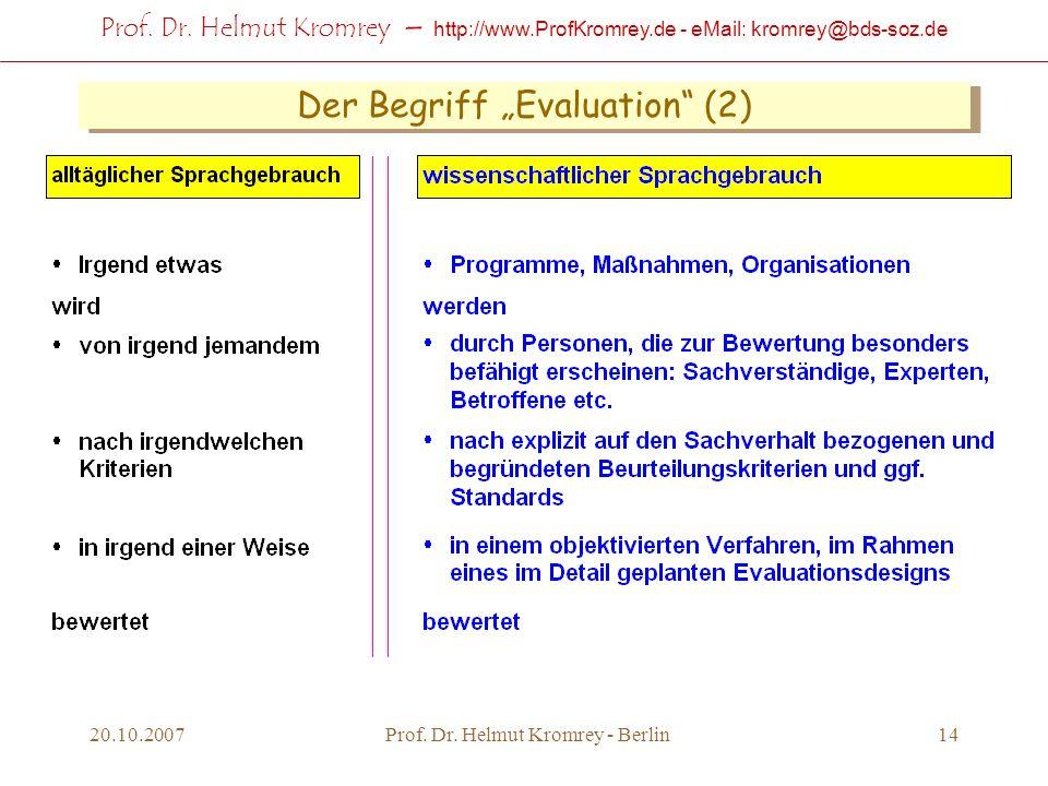 Prof. Dr. Helmut Kromrey – http://www.ProfKromrey.de - eMail: kromrey@bds-soz.de 20.10.2007Prof. Dr. Helmut Kromrey - Berlin14 Der Begriff Evaluation