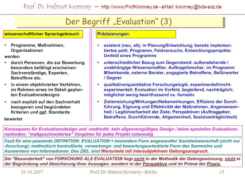 Prof. Dr. Helmut Kromrey – http://www.ProfKromrey.de - eMail: kromrey@bds-soz.de 20.10.2007Prof. Dr. Helmut Kromrey - Berlin15 Der Begriff Evaluation