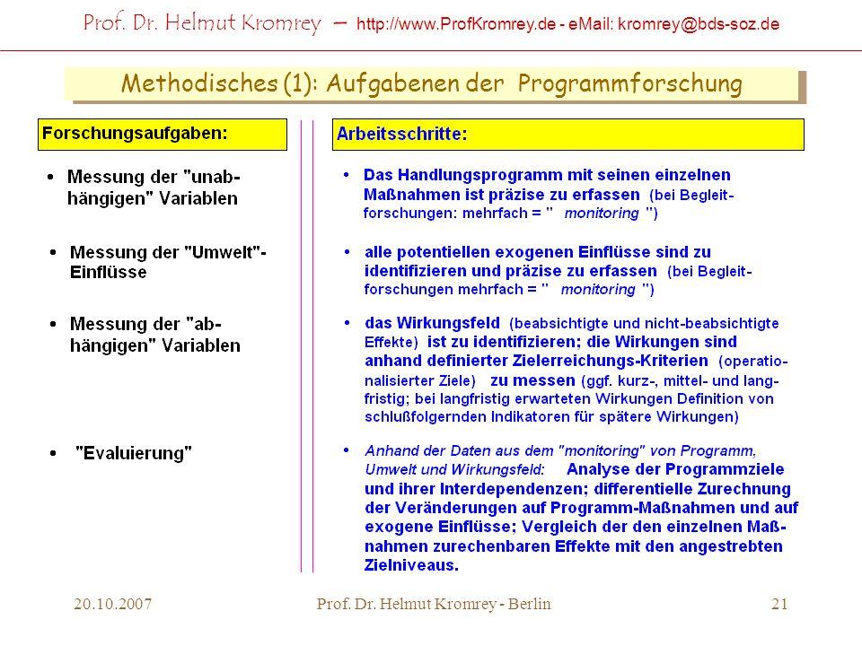 Prof. Dr. Helmut Kromrey – http://www.ProfKromrey.de - eMail: kromrey@bds-soz.de 20.10.2007Prof. Dr. Helmut Kromrey - Berlin21 Methodisches (1): Aufga