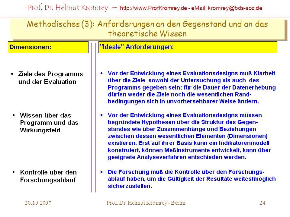 Prof. Dr. Helmut Kromrey – http://www.ProfKromrey.de - eMail: kromrey@bds-soz.de 20.10.2007Prof. Dr. Helmut Kromrey - Berlin24 Methodisches (3): Anfor