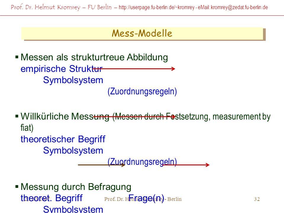 Prof. Dr. Helmut Kromrey – FU Berlin – http://userpage.fu-berlin.de/~kromrey - eMail: kromrey@zedat.fu-berlin.de 20.10.2007Prof. Dr. Helmut Kromrey -