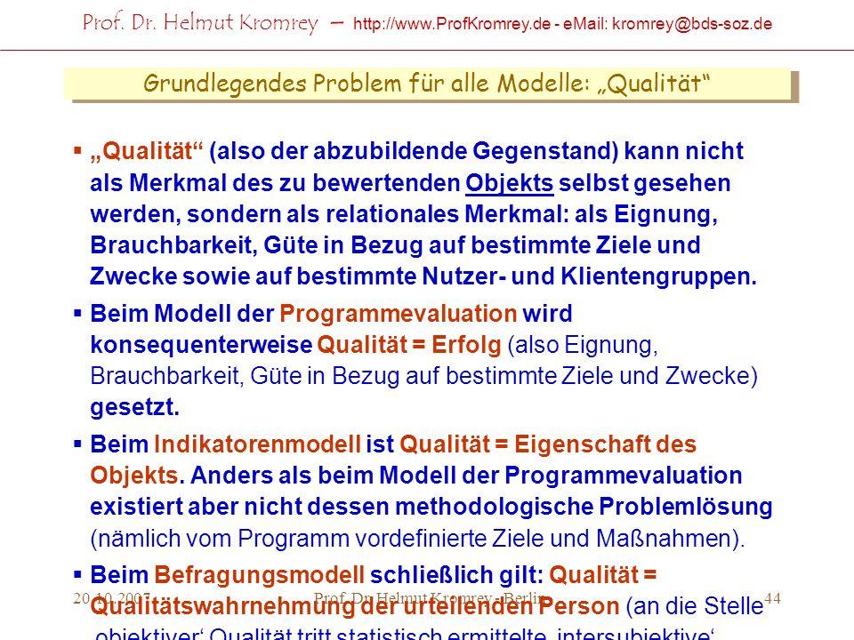 Prof. Dr. Helmut Kromrey – http://www.ProfKromrey.de - eMail: kromrey@bds-soz.de 20.10.2007Prof. Dr. Helmut Kromrey - Berlin44 Grundlegendes Problem f