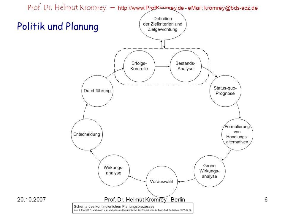 Prof. Dr. Helmut Kromrey – http://www.ProfKromrey.de - eMail: kromrey@bds-soz.de 20.10.2007Prof. Dr. Helmut Kromrey - Berlin6 Politik und Planung