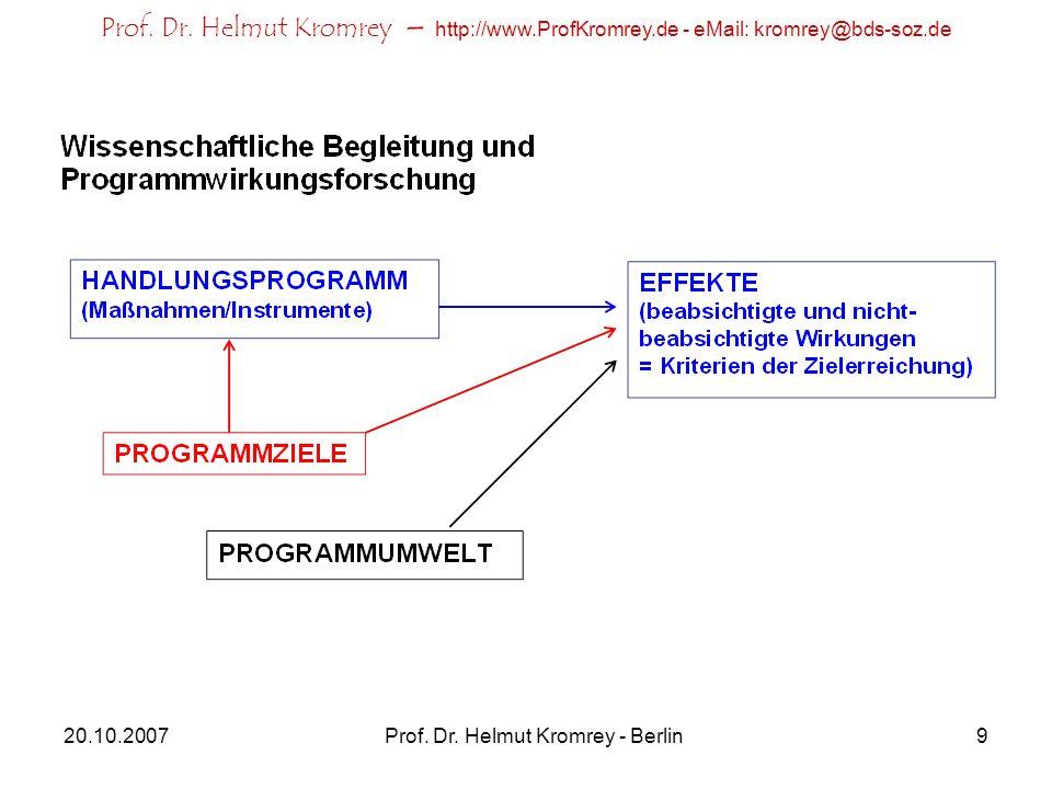 Prof. Dr. Helmut Kromrey – http://www.ProfKromrey.de - eMail: kromrey@bds-soz.de 20.10.2007Prof. Dr. Helmut Kromrey - Berlin9