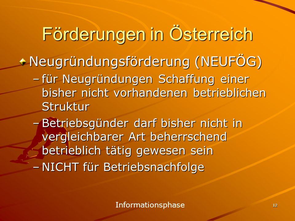 12 Förderungen in Österreich Neugründungsförderung (NEUFÖG) –für Neugründungen Schaffung einer bisher nicht vorhandenen betrieblichen Struktur –Betrie