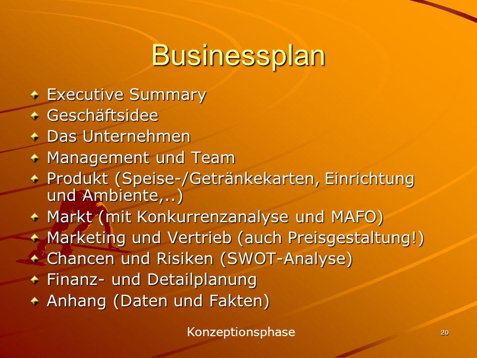20 Businessplan Executive Summary Geschäftsidee Das Unternehmen Management und Team Produkt (Speise-/Getränkekarten, Einrichtung und Ambiente,..) Mark