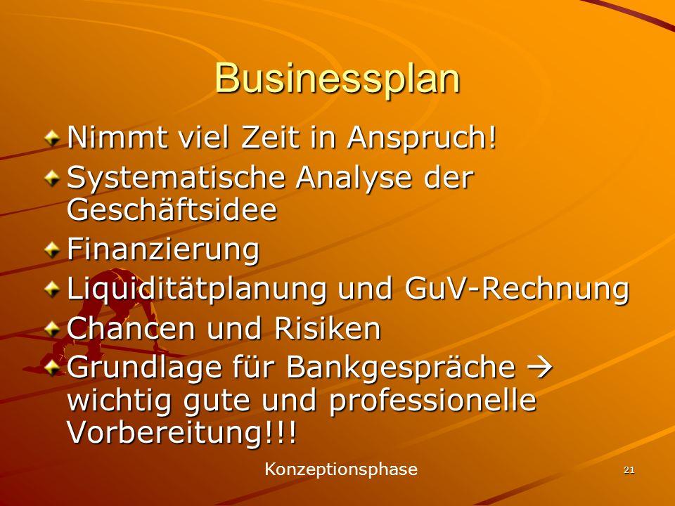 21 Businessplan Nimmt viel Zeit in Anspruch! Systematische Analyse der Geschäftsidee Finanzierung Liquiditätplanung und GuV-Rechnung Chancen und Risik