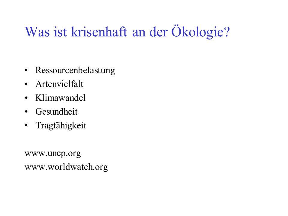 Was ist krisenhaft an der Ökologie? Ressourcenbelastung Artenvielfalt Klimawandel Gesundheit Tragfähigkeit www.unep.org www.worldwatch.org