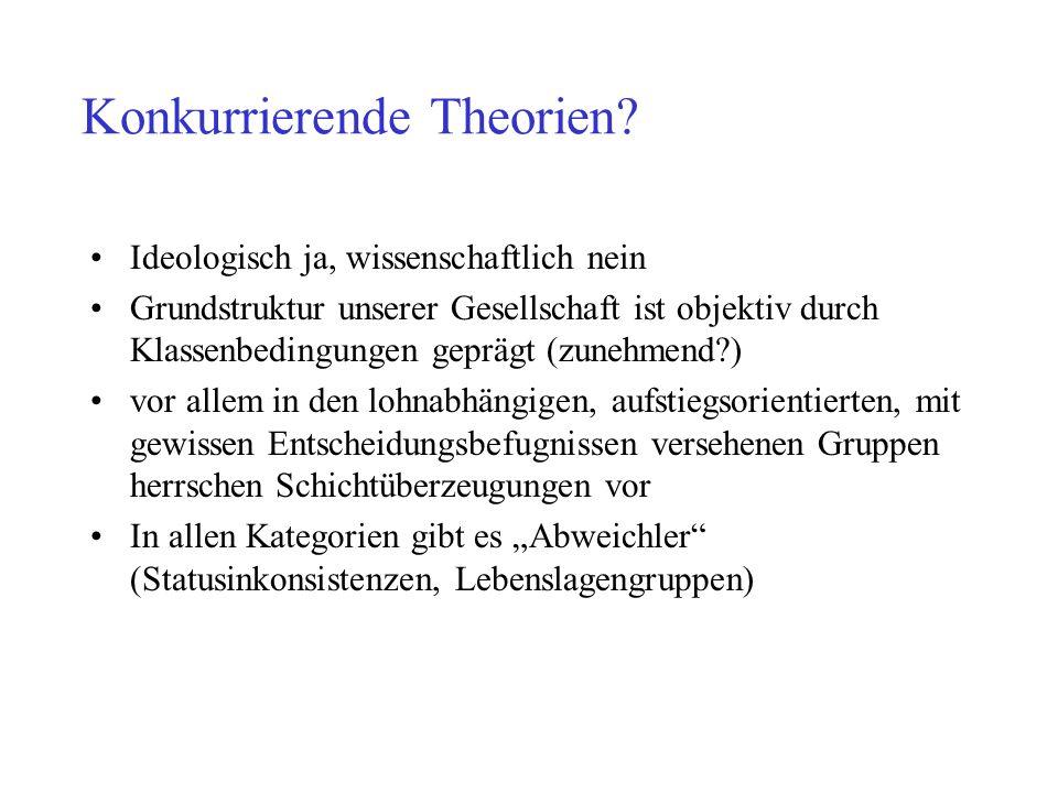 Konkurrierende Theorien? Ideologisch ja, wissenschaftlich nein Grundstruktur unserer Gesellschaft ist objektiv durch Klassenbedingungen geprägt (zuneh