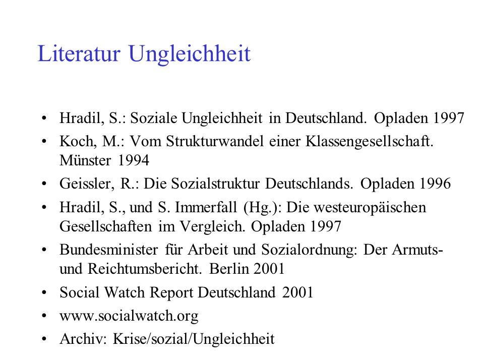 Literatur Ungleichheit Hradil, S.: Soziale Ungleichheit in Deutschland. Opladen 1997 Koch, M.: Vom Strukturwandel einer Klassengesellschaft. Münster 1