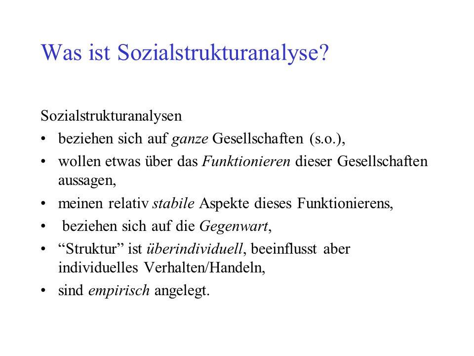 Was ist Sozialstrukturanalyse? Sozialstrukturanalysen beziehen sich auf ganze Gesellschaften (s.o.), wollen etwas über das Funktionieren dieser Gesell