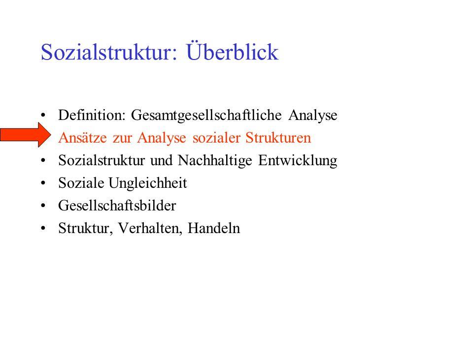 Sozialstruktur: Überblick Definition: Gesamtgesellschaftliche Analyse Ansätze zur Analyse sozialer Strukturen Sozialstruktur und Nachhaltige Entwicklu