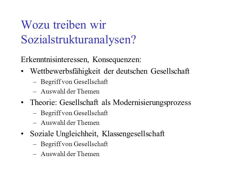 Wozu treiben wir Sozialstrukturanalysen? Erkenntnisinteressen, Konsequenzen: Wettbewerbsfähigkeit der deutschen Gesellschaft –Begriff von Gesellschaft