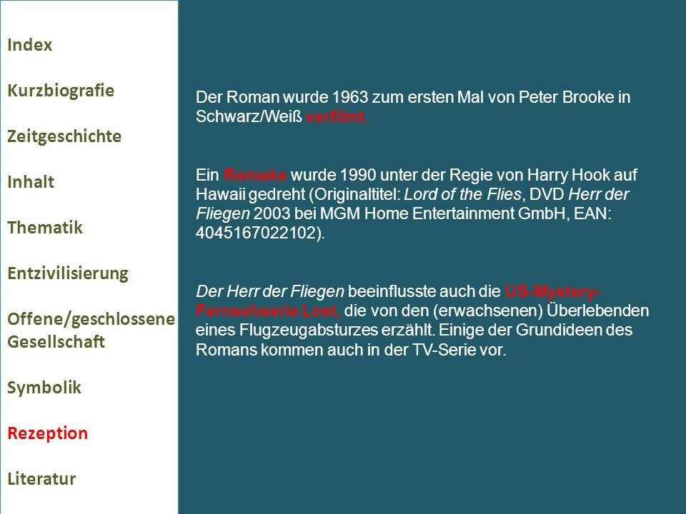 Index Kurzbiografie Zeitgeschichte Inhalt Thematik Entzivilisierung Offene/geschlossene Gesellschaft Symbolik Rezeption Literatur Der Roman wurde 1963 zum ersten Mal von Peter Brooke in Schwarz/Weiß verfilmt.