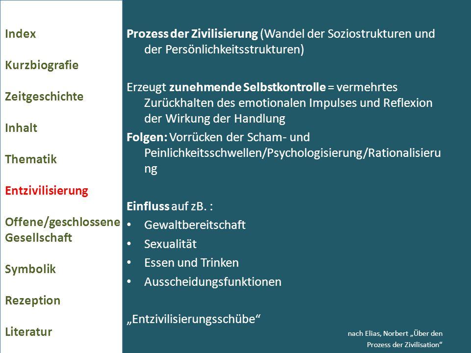 Prozess der Zivilisierung (Wandel der Soziostrukturen und der Persönlichkeitsstrukturen) Erzeugt zunehmende Selbstkontrolle = vermehrtes Zurückhalten
