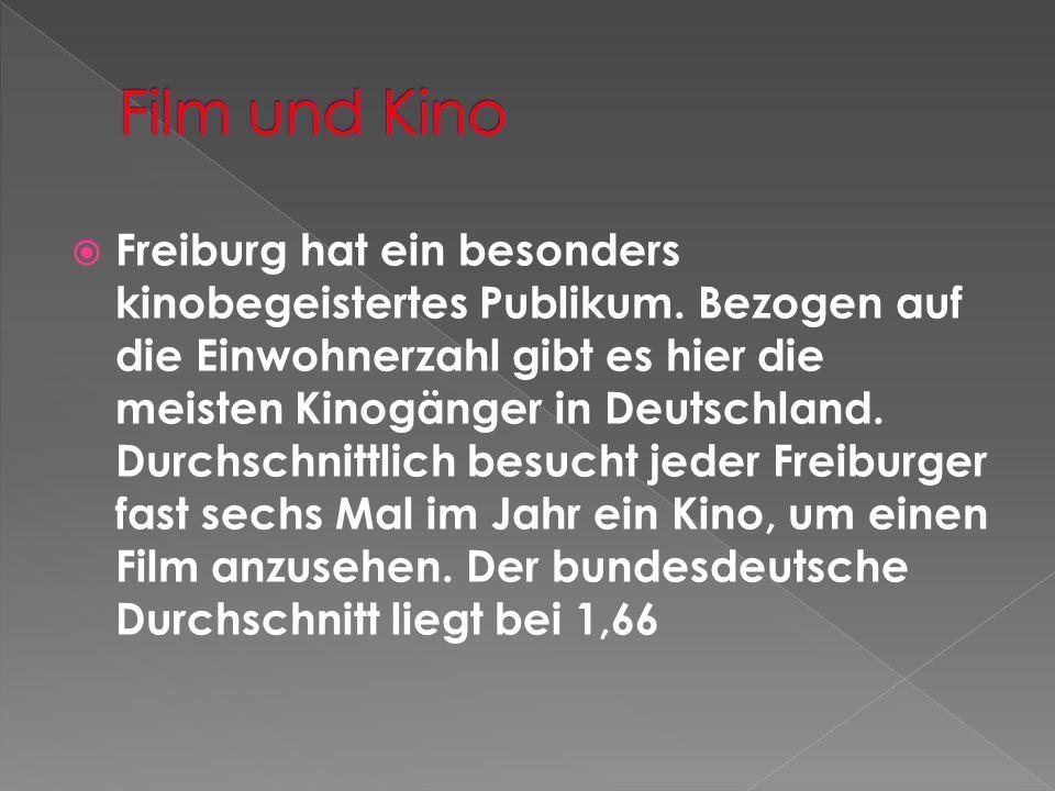 Freiburg hat ein besonders kinobegeistertes Publikum. Bezogen auf die Einwohnerzahl gibt es hier die meisten Kinogänger in Deutschland. Durchschnittli