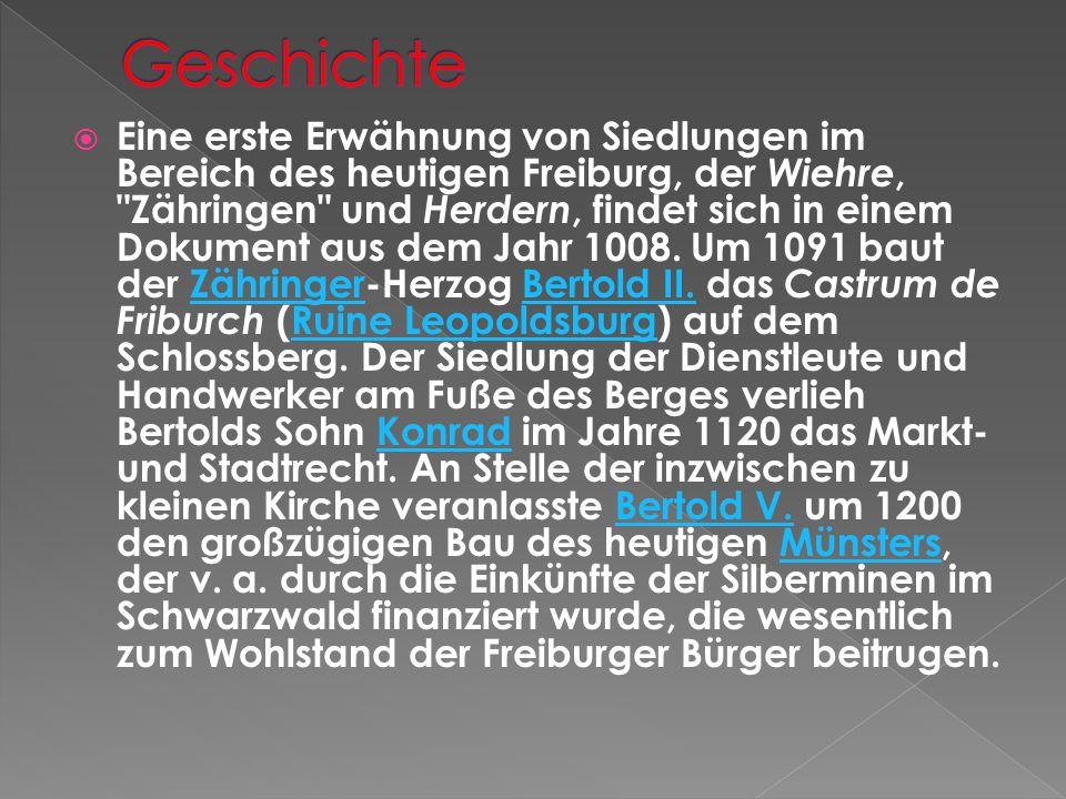 Eine erste Erwähnung von Siedlungen im Bereich des heutigen Freiburg, der Wiehre, Zähringen und Herdern, findet sich in einem Dokument aus dem Jahr 1008.