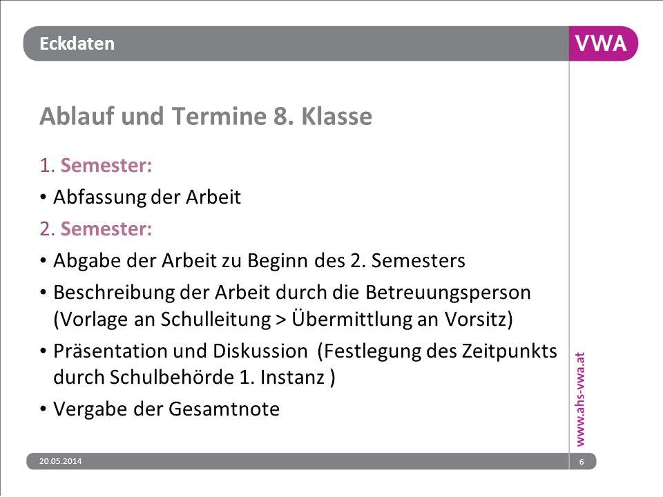 Eckdaten Ablauf und Termine 8. Klasse 1. Semester: Abfassung der Arbeit 2.