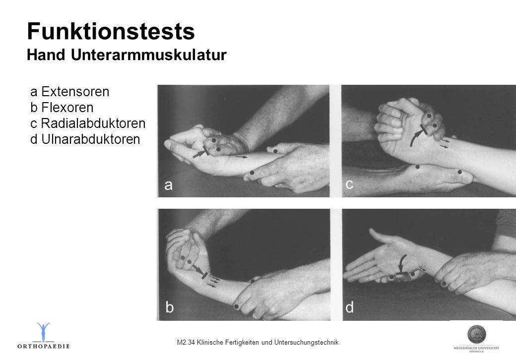 a Extensoren b Flexoren c Radialabduktoren d Ulnarabduktoren Funktionstests Hand Unterarmmuskulatur a c bd M2.34 Klinische Fertigkeiten und Untersuchu