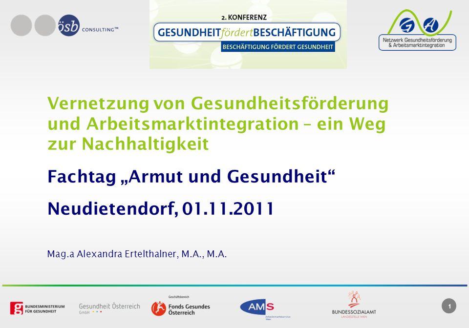 1 Vernetzung von Gesundheitsförderung und Arbeitsmarktintegration – ein Weg zur Nachhaltigkeit Fachtag Armut und Gesundheit Neudietendorf, 01.11.2011