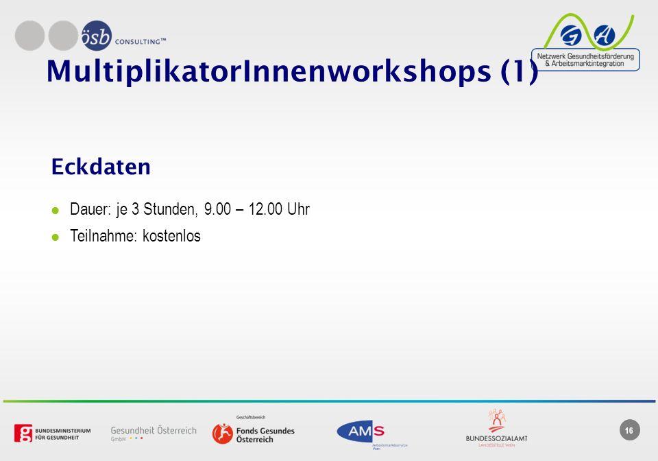 16 MultiplikatorInnenworkshops (1) Eckdaten Dauer: je 3 Stunden, 9.00 – 12.00 Uhr Teilnahme: kostenlos