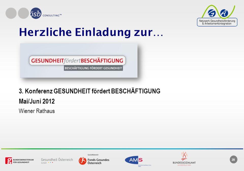 20 Herzliche Einladung zur… 3. Konferenz GESUNDHEIT fördert BESCHÄFTIGUNG Mai/Juni 2012 Wiener Rathaus