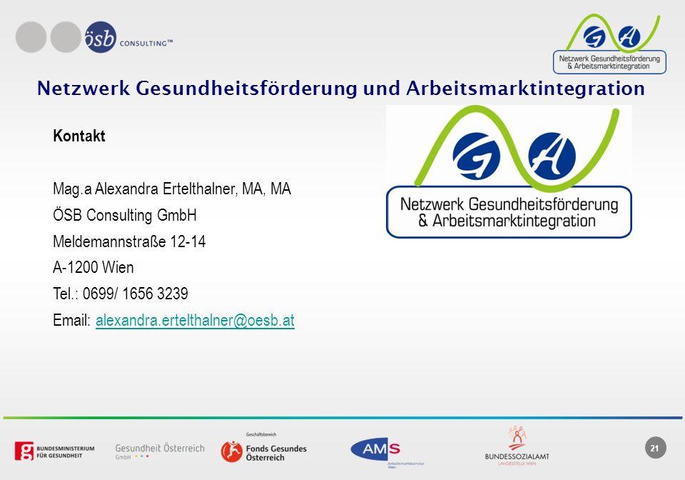21 Netzwerk Gesundheitsförderung und Arbeitsmarktintegration Kontakt Mag.a Alexandra Ertelthalner, MA, MA ÖSB Consulting GmbH Meldemannstraße 12-14 A-1200 Wien Tel.: 0699/ 1656 3239 Email: alexandra.ertelthalner@oesb.atalexandra.ertelthalner@oesb.at