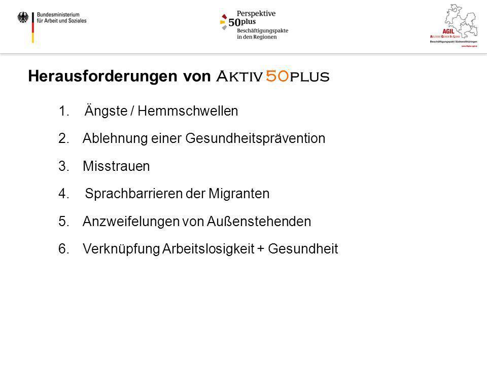 1. Ängste / Hemmschwellen 2.Ablehnung einer Gesundheitsprävention 3.Misstrauen 4. Sprachbarrieren der Migranten 5.Anzweifelungen von Außenstehenden 6.
