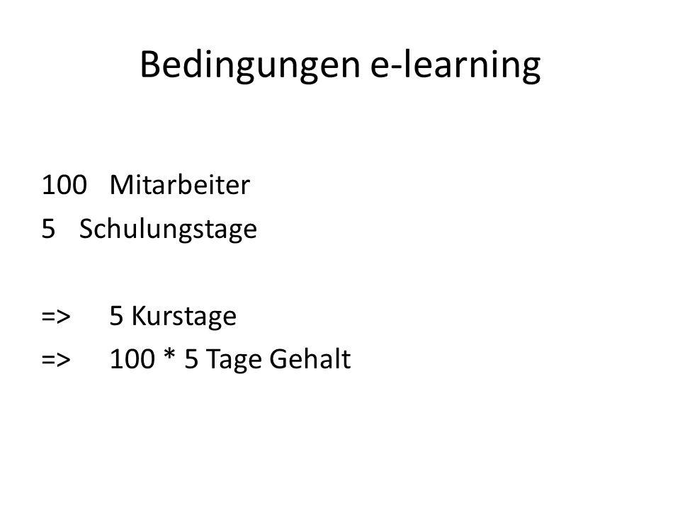 Bedingungen e-learning 100Mitarbeiter 5Schulungstage =>5 Kurstage => 100 * 5 Tage Gehalt