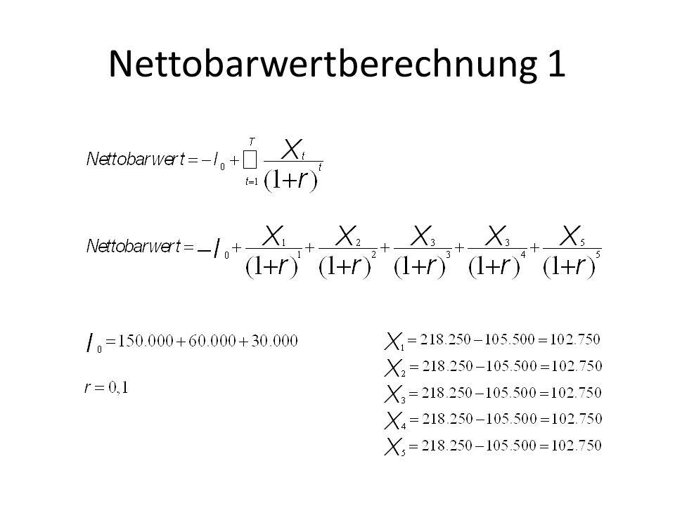 Nettobarwertberechnung 1