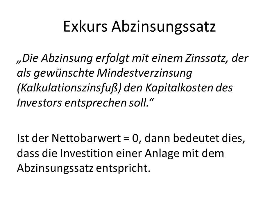 Exkurs Abzinsungssatz Die Abzinsung erfolgt mit einem Zinssatz, der als gewünschte Mindestverzinsung (Kalkulationszinsfuß) den Kapitalkosten des Investors entsprechen soll.