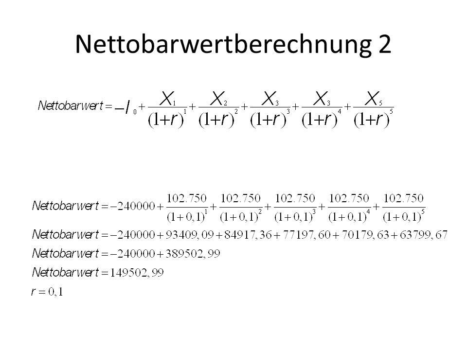 Nettobarwertberechnung 2
