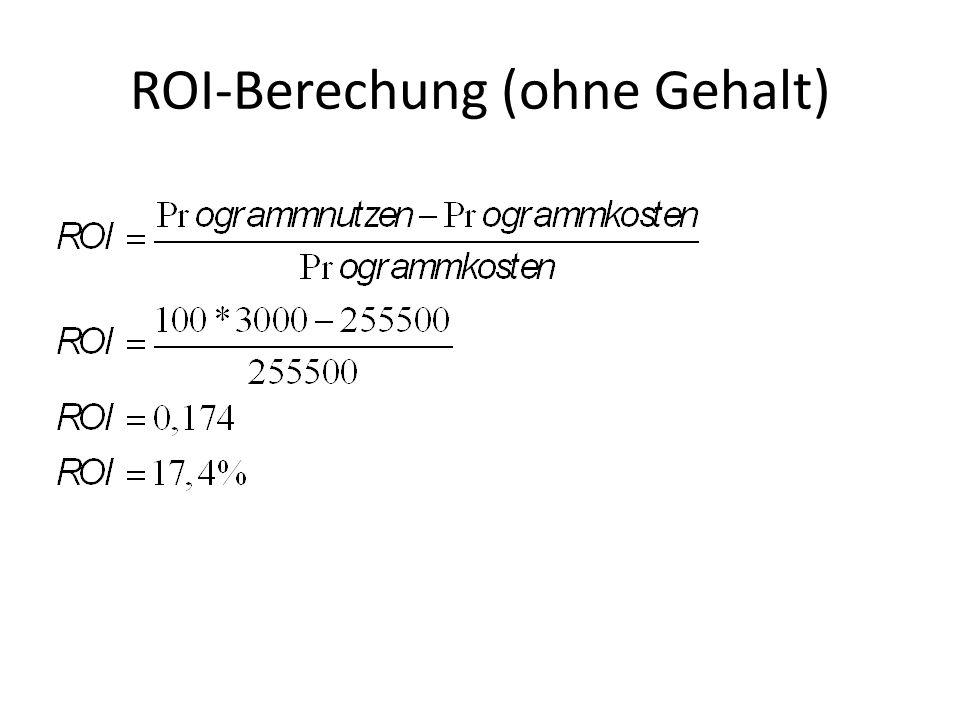 ROI-Berechung (ohne Gehalt)