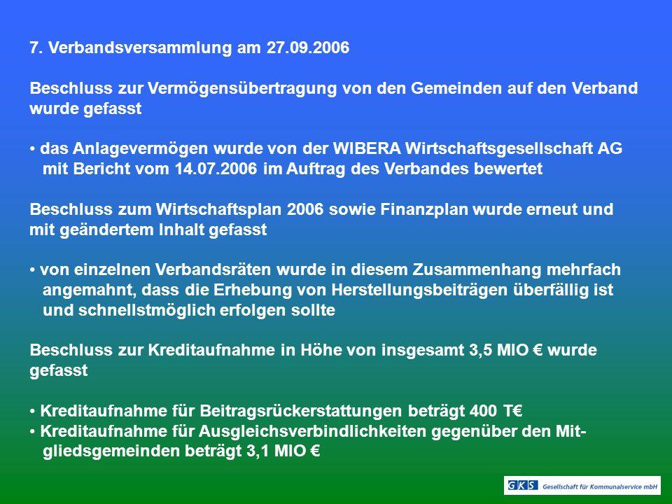 7. Verbandsversammlung am 27.09.2006 Beschluss zur Vermögensübertragung von den Gemeinden auf den Verband wurde gefasst das Anlagevermögen wurde von d